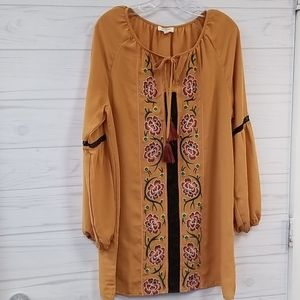 Umgee embroidered Dress Mustard Size Sm